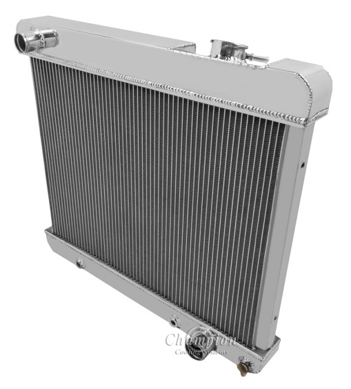"""2 Row 1/"""" Discount Champion Radiator W// 2 10/"""" Fans for 1963-1966 Chevy C//K Series"""