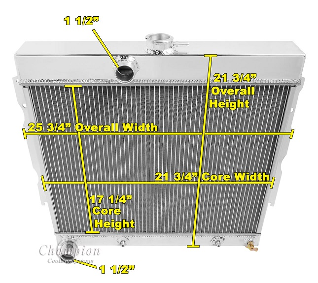 "3 Row Aluminum Radiator Fit Dodge Plymouth Cars 26/"" Wide CORE Small Block 68-74"