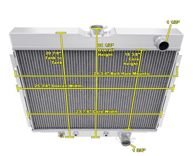"ALUMINUM RADIATOR FAN SHROUD 67-70 FORD MUSTANG 24/"" WIDE CORE USES 12/"" FANS"