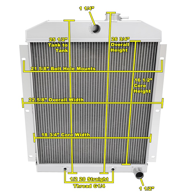 """Champion Cooling 2 Row Radiator For 70-85 GM 26/"""" Core"""