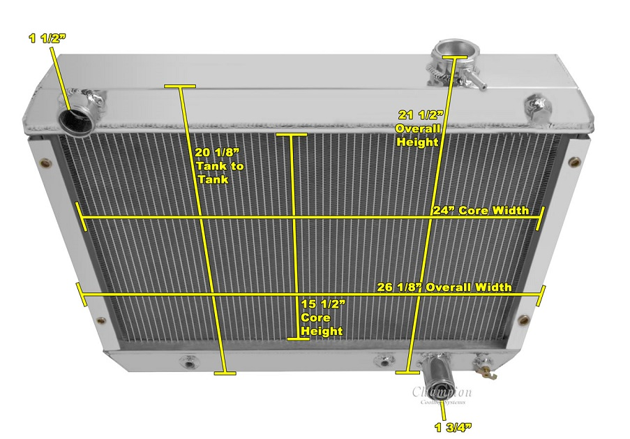 3//TRI Row Aluminum Radiator For 62-67 Chevy Nova II Inline 6 Cylinder V8